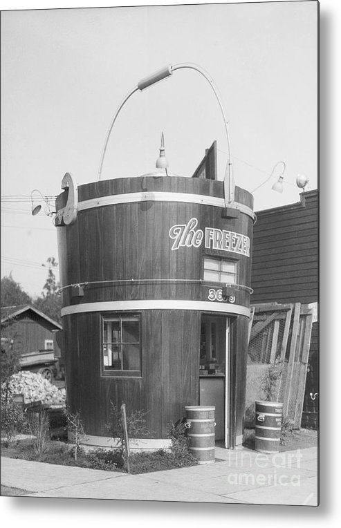 Outdoors Metal Print featuring the photograph Freezer Of Ice Cream Parlor by Bettmann