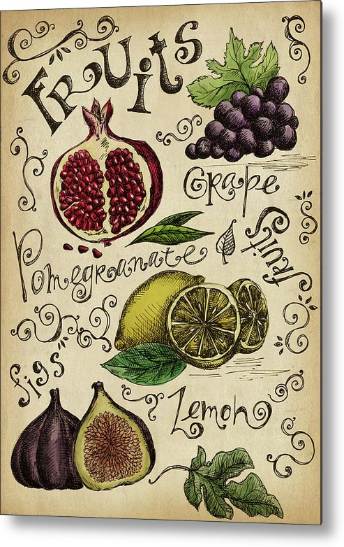 Doodle Metal Print featuring the digital art Fruits by Kalistratova