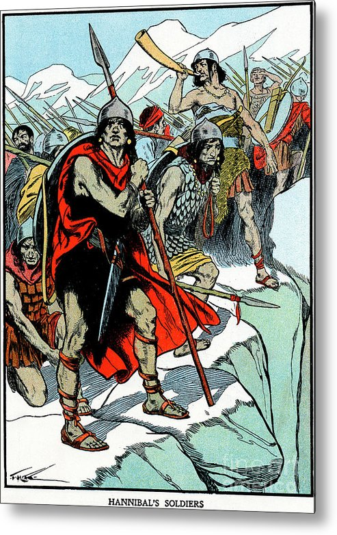 People Metal Print featuring the drawing Hannibal Crossing The Alps, 218 Bc by Print Collector