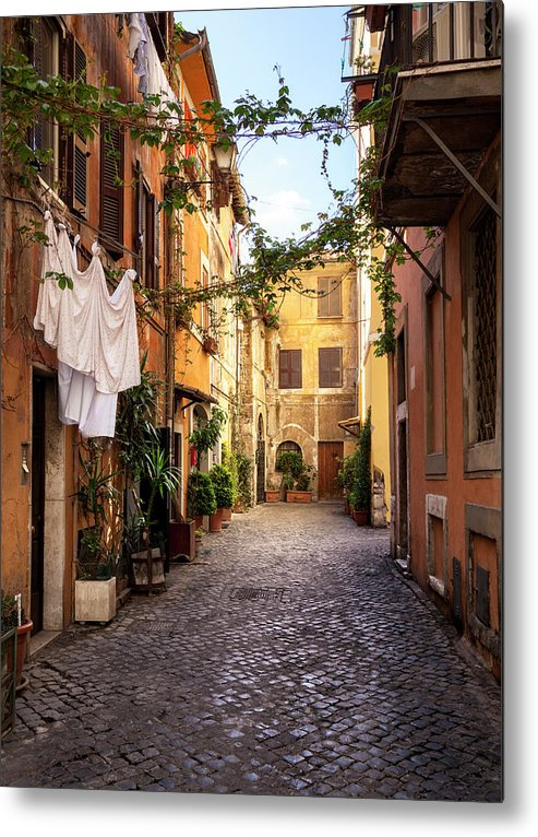 Roman Metal Print featuring the photograph Italian Old Town Trastevere In Rome by Spooh