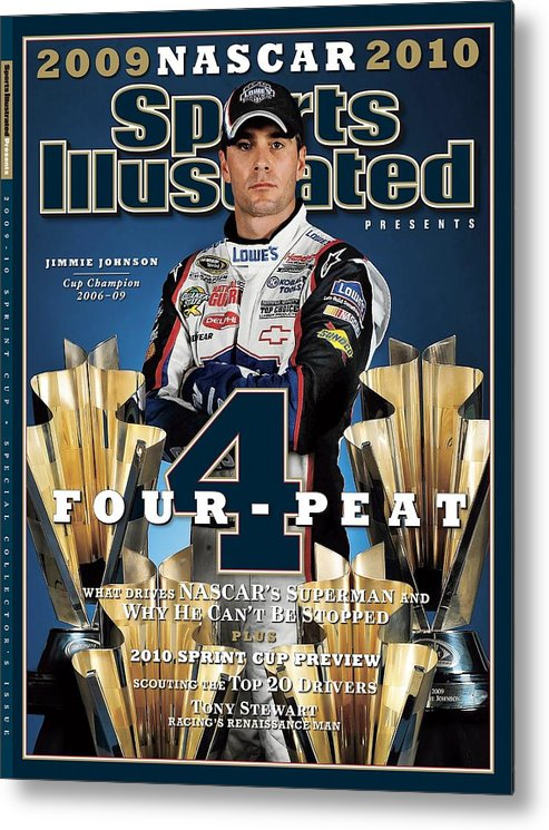 Land Vehicle Metal Print featuring the photograph Jimmie Johnson, 2009 Sprint Cup Champion Sports Illustrated Cover by Sports Illustrated