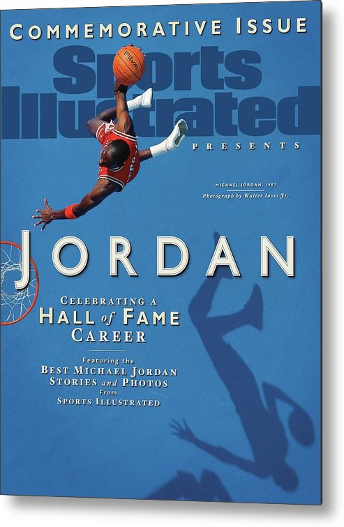 1980-1989 Metal Print featuring the photograph Jordan Celebrating A Hall Of Fame Career Sports Illustrated Cover by Sports Illustrated