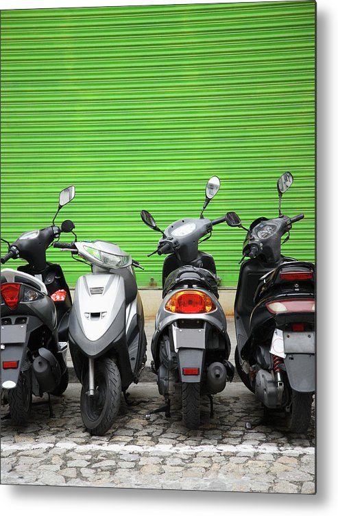 Macao Metal Print featuring the photograph Line Of Motorbikes Against Green by Steven Puetzer
