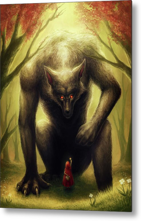 Little Red Riding Hood Metal Print featuring the mixed media Little Red Riding Hood by Jojoesart