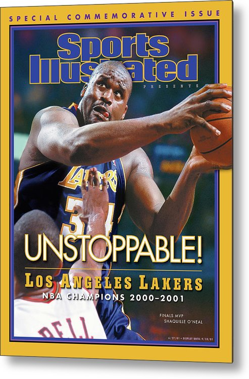 Playoffs Metal Print featuring the photograph Los Angeles Lakers Shaquille Oneal, 2001 Nba Champions Sports Illustrated Cover by Sports Illustrated