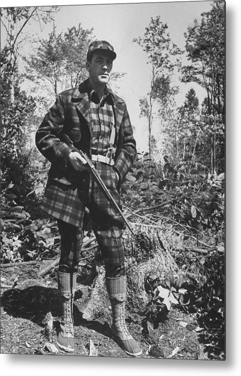 Timeincown Metal Print featuring the photograph Man In Deer Hunting Outfit In Red & Blac by George Strock