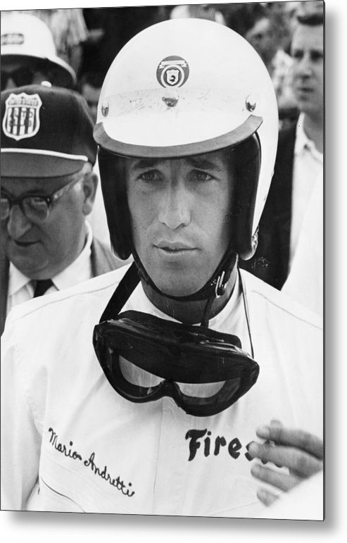 Helmet Metal Print featuring the photograph Mario Andretti by Heritage Images