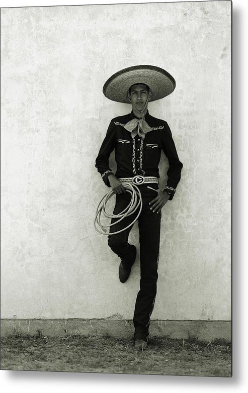 Cool Attitude Metal Print featuring the photograph Mexican Cowboy Wearing Hat And Holding by Terry Vine