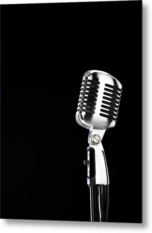 Music Metal Print featuring the photograph Microphone Against Black Background by Peter Dazeley
