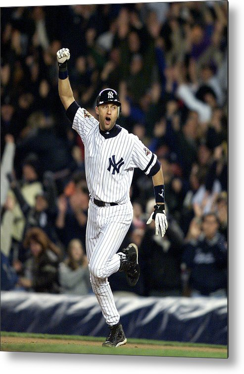 People Metal Print featuring the photograph New York Yankees Derek Jeter Celebrates by New York Daily News Archive