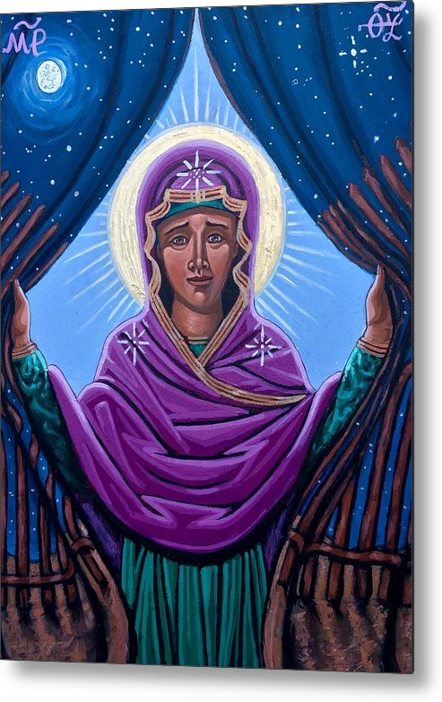 Metal Print featuring the painting Our Lady Who Removes Walls by Kelly Latimore