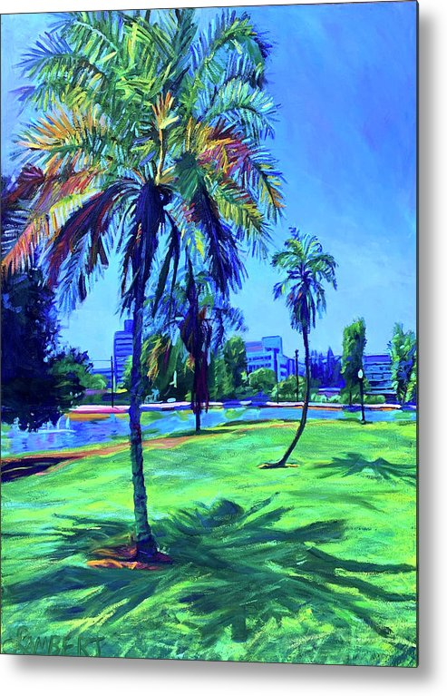 Park Metal Print featuring the painting Palm Prints by Bonnie Lambert