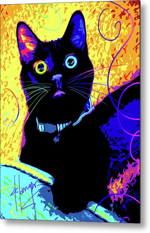 Olive Metal Print featuring the painting pOpCat Olive by DC Langer