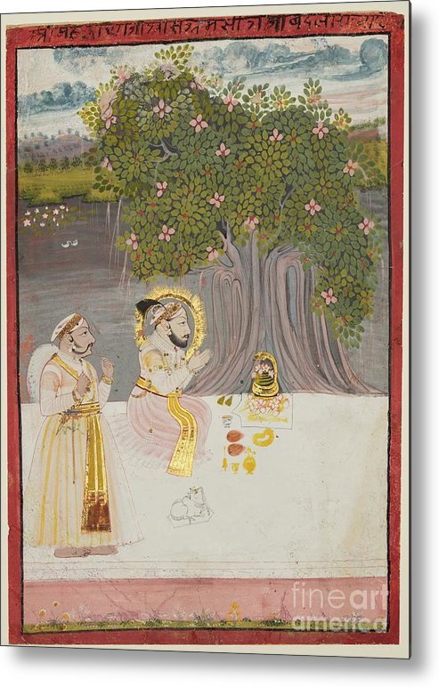 Rajasthan Metal Print featuring the drawing Rana Sangram Singh Worshipping A Linga by Heritage Images