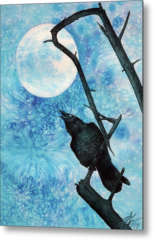 Raven Metal Print featuring the painting Raven with Torrey Pine Branch and Cold Moon by Robin Street-Morris