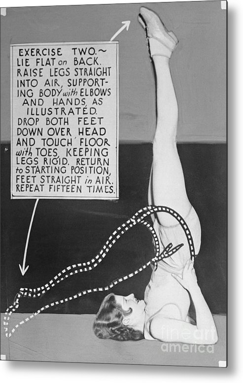 People Metal Print featuring the photograph Showgirl Demonstrating Exercising by Bettmann