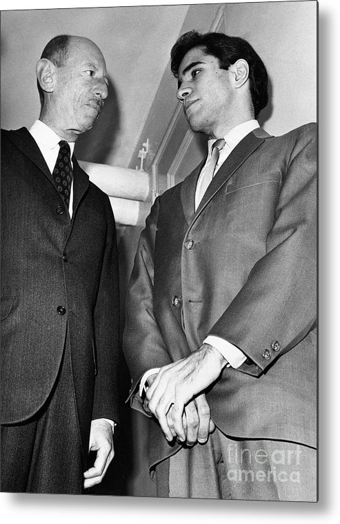 Lawyer Metal Print featuring the photograph Sirhan Sirhan With Lawyer by Bettmann