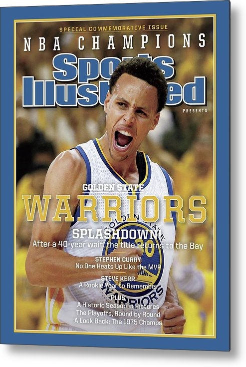 Playoffs Metal Print featuring the photograph Splashdown Golden State Warriors 2015 Nba Champions Sports Illustrated Cover by Sports Illustrated