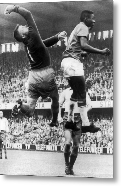 Struggle Metal Print featuring the photograph Svenson And Pele In Action In Stockholm by Keystone-france