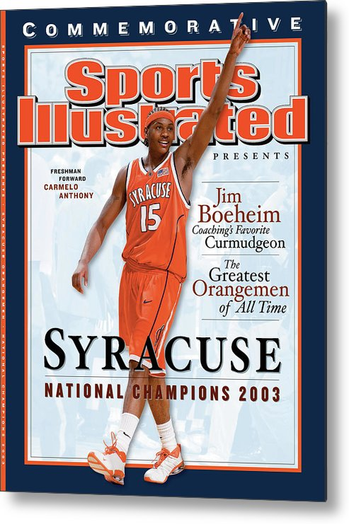Louisiana Superdome Metal Print featuring the photograph Syracuse University Carmelo Anthony, 2003 Ncaa National Sports Illustrated Cover by Sports Illustrated