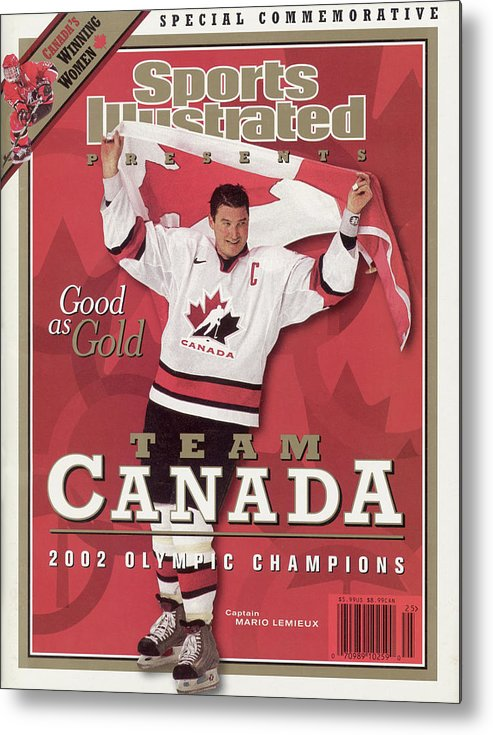 The Olympic Games Metal Print featuring the photograph Team Canada Mario Lemieux, 2002 Winter Olympic Champions Sports Illustrated Cover by Sports Illustrated