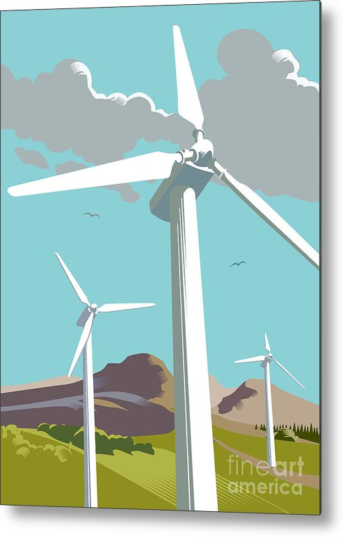 Environmental Conservation Metal Print featuring the digital art Wind Turbine Farm In Countryside by Smartboy10