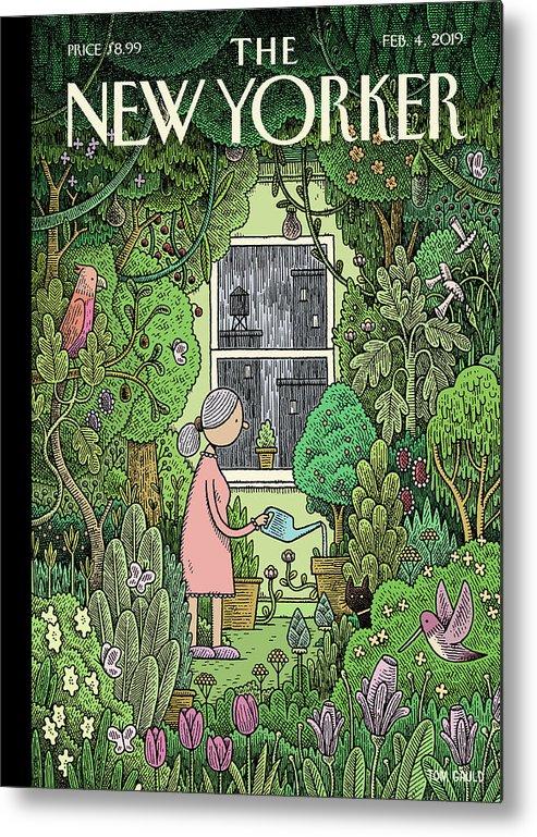 Winter Garden Metal Print featuring the painting Winter Garden by Tom Gauld