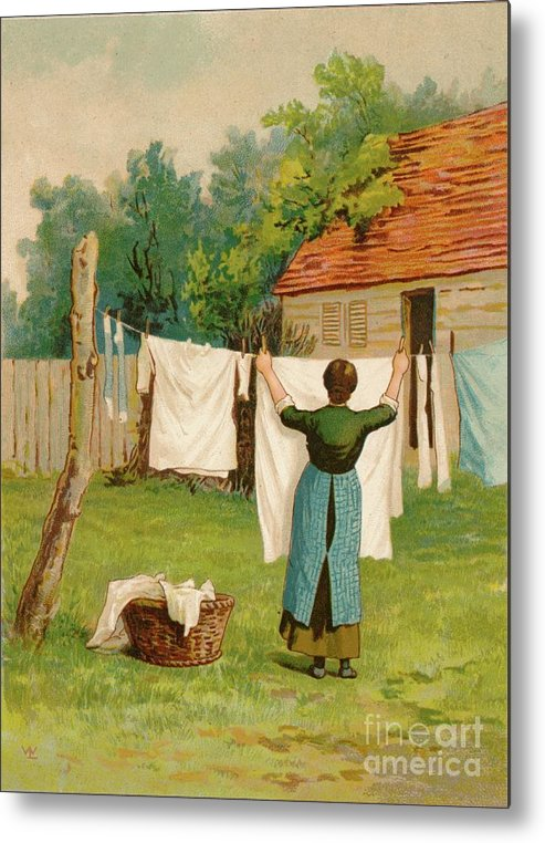Artist Metal Print featuring the drawing Woman Hanging Up Washing by Print Collector