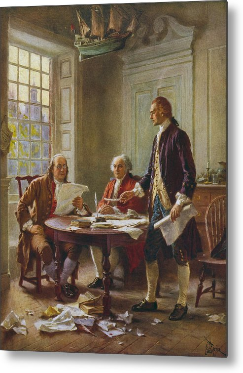Declaration Of Independence Metal Print featuring the painting Writing The Declaration of Independence by War Is Hell Store