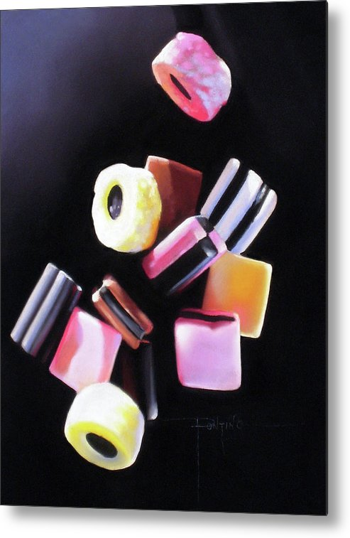 Licorice Allsorts Metal Print featuring the pastel Y'all Fall Down by Dianna Ponting