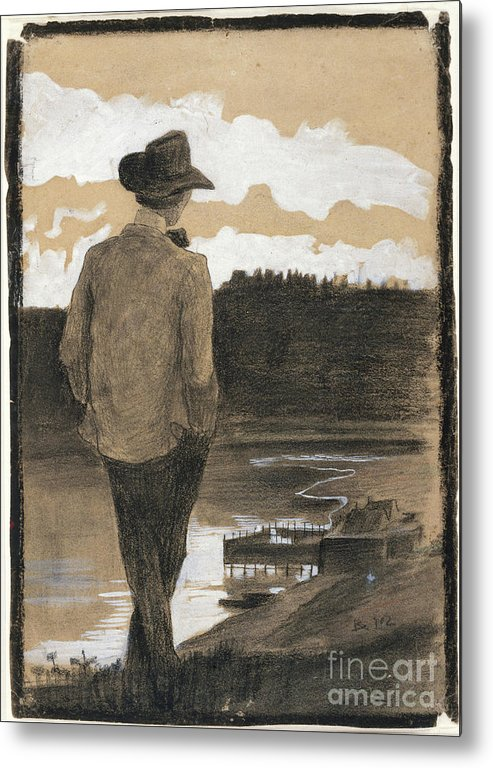 Young Men Metal Print featuring the drawing Young Man On A Riverbank by Heritage Images