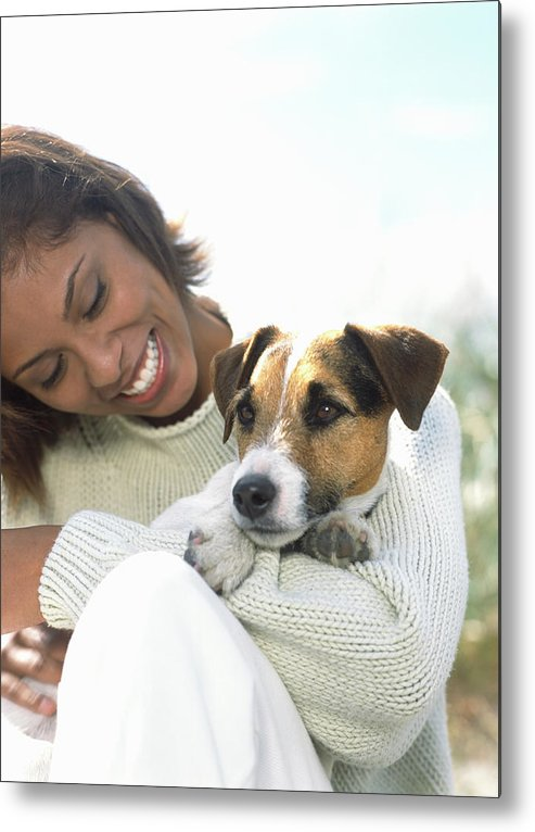 Pets Metal Print featuring the photograph Young Woman Holding Jack Russell by Todd Pearson