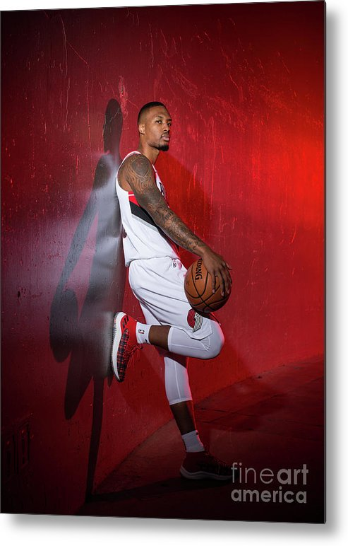 Media Day Metal Print featuring the photograph Damian Lillard by Sam Forencich