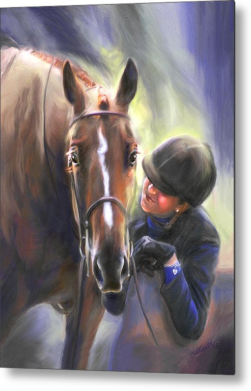 Horse Metal Print featuring the painting A Secret Shared Hunter Horse With Girl by Connie Moses