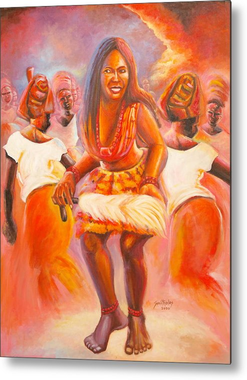 Orange Metal Print featuring the painting African Mixed Dancer by Olaoluwa Smith