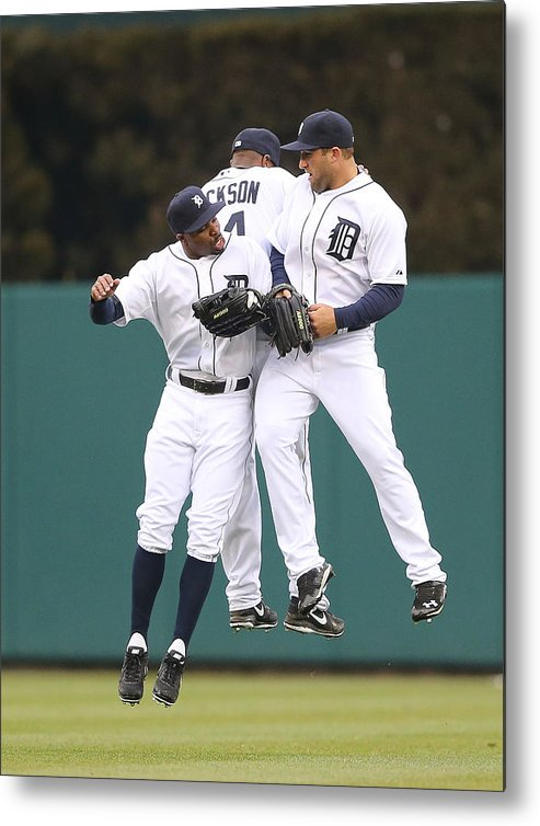 American League Baseball Metal Print featuring the photograph Austin Jackson, Rajai Davis, and Tyler Collins by Leon Halip