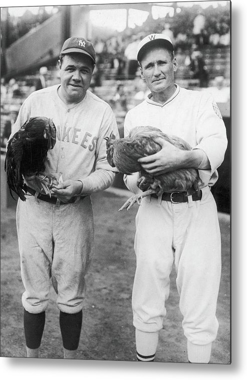 Baseball Cap Metal Print featuring the photograph Babe Ruth and Walter Johnson by Fpg