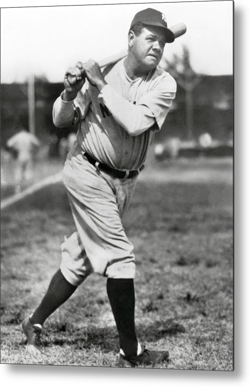 American League Baseball Metal Print featuring the photograph Babe Ruth by Mlb Photos