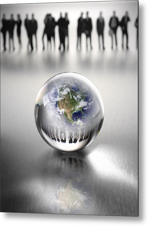 Crystal Ball Metal Print featuring the photograph Business Team Around the World by Wragg
