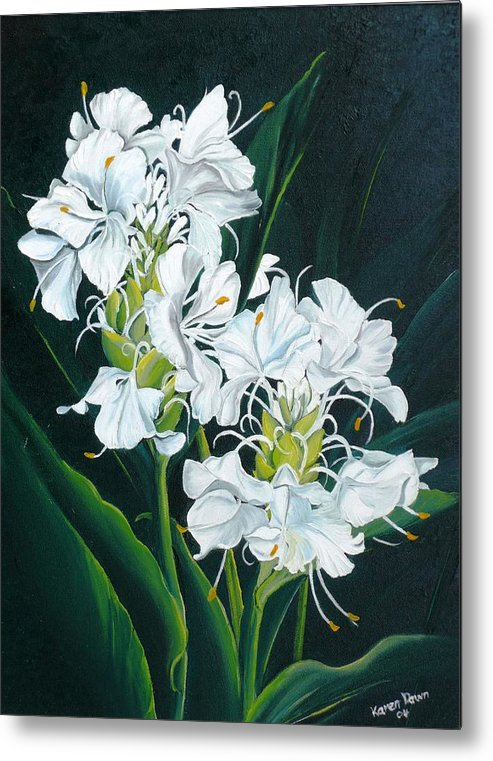 Caribbean Painting Butterfly Ginger Painting Floral Painting Botanical Painting Flower Painting Water Ginger Painting Or Water Ginger Tropical Lily Painting Original Oil Painting Trinidad And  Tobago Painting Tropical Painting Lily Painting White Flower Painting Metal Print featuring the painting Butterfly Ginger by Karin Dawn Kelshall- Best