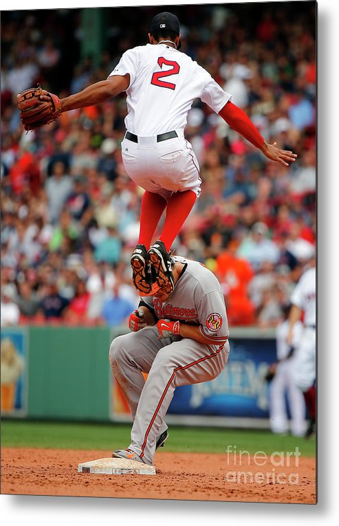 People Metal Print featuring the photograph Chris Davis and Xander Bogaerts by Winslow Townson