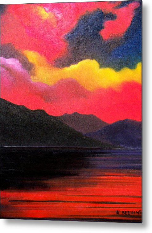 Surreal Metal Print featuring the painting Crimson clouds by Sergey Bezhinets