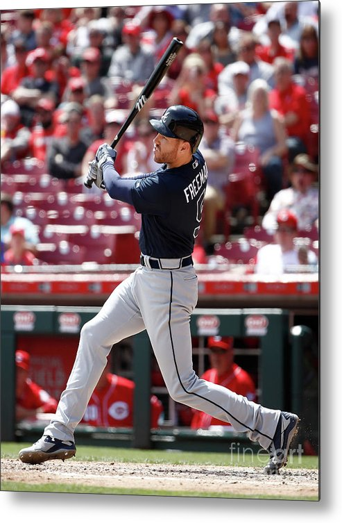 Great American Ball Park Metal Print featuring the photograph Freddie Freeman by Andy Lyons