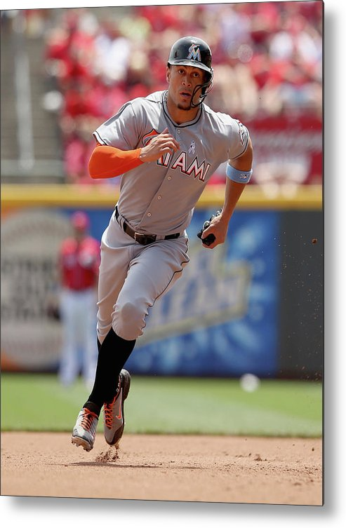 Great American Ball Park Metal Print featuring the photograph Giancarlo Stanton by Andy Lyons