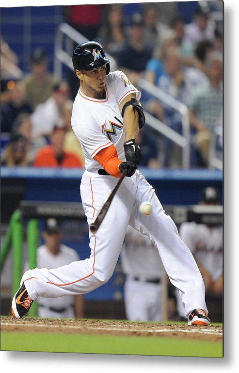 National League Baseball Metal Print featuring the photograph Giancarlo Stanton by Rhona Wise