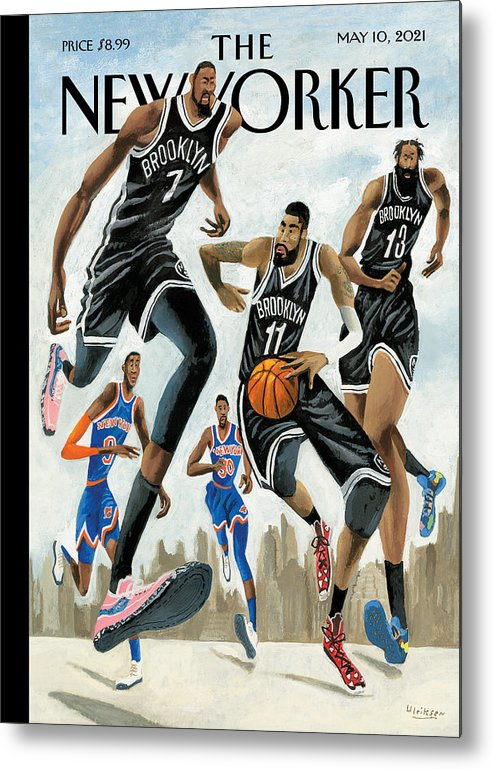 Nyc Metal Print featuring the painting Hoop Dreams in New York by Mark Ulriksen