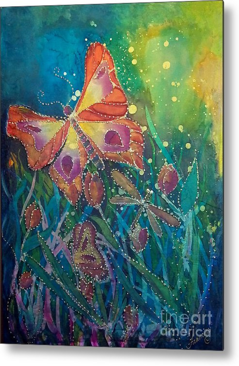 Silk Painting Metal Print featuring the painting Jeweled Butterfly Fantasy by Francine Dufour Jones