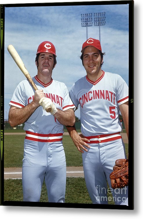 National League Baseball Metal Print featuring the photograph Johnny Bench and Pete Rose by Louis Requena