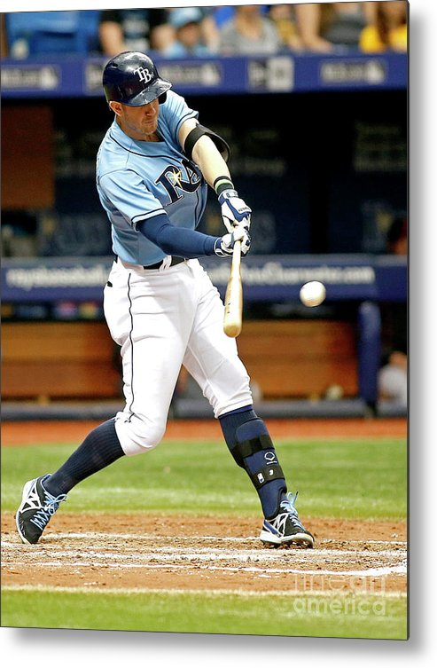 People Metal Print featuring the photograph Logan Forsythe and Evan Longoria by Brian Blanco