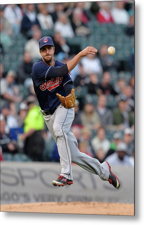 American League Baseball Metal Print featuring the photograph Lonnie Chisenhall and Gordon Beckham by Brian Kersey